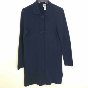 Chico's Womens Dress Coat Blue Snap Button Collar
